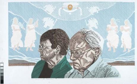 26. Jenny a Jan Hladíkovi,barevný linoryt,2010, 44 x 73 cm