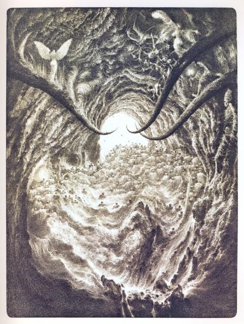 8. Noční ludia III (litografie, 1996-7)