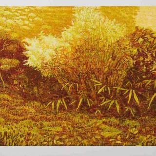 M.Sláma, V papyrusovém háji, barevný linoryt, 64x43 cm, 2004