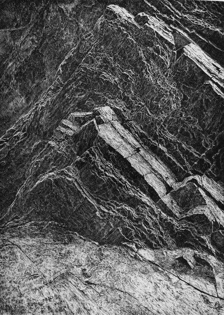 V tichu skal, čárový lept, 2019 (65 x 46 cm)