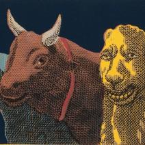 Zvířata v Palermu,bar. linoryt,2014,37x63