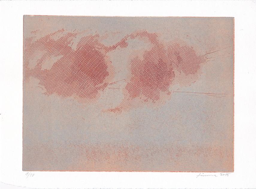 Lukáš Tůma, Mraky nad mlhou, čárový lept, vel. tisku 148 x 199 mm, vel. listu 178 x 242 mm