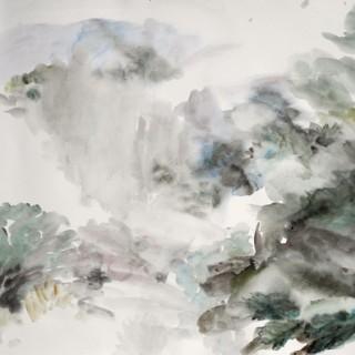 """""""Lesy a hory za Šemánovicemi"""" / 720 x 1005 mm / akvarel / 2015"""