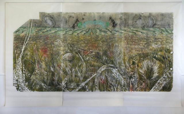 Guerre, version jaune, dřevořez, japonský papír, 2015, 125x250 cm