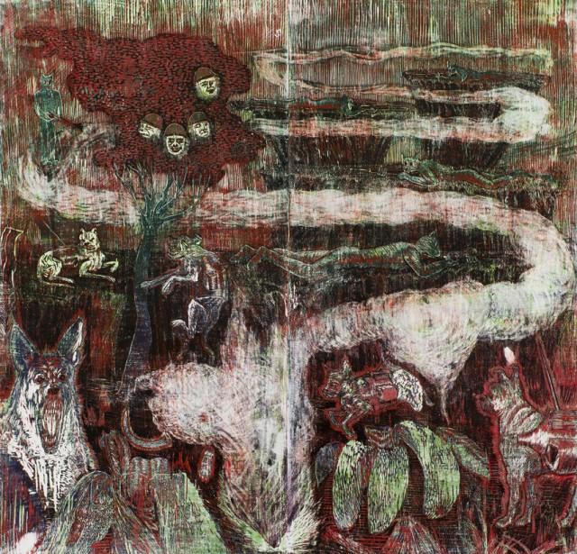 Imaginary Wars 2, dřevořez, 2014, 150x150 cm