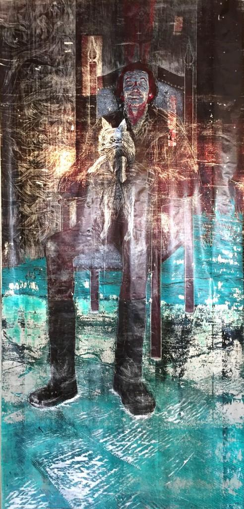 Jack 7, dřevořez, plast, 250x120 cm, 2016