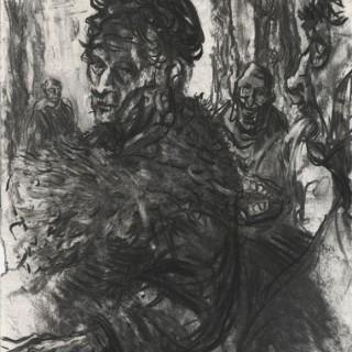 Trnka Pavel - Madam v parku - kresba uhlem, 29,7 x 42 cm, 2014
