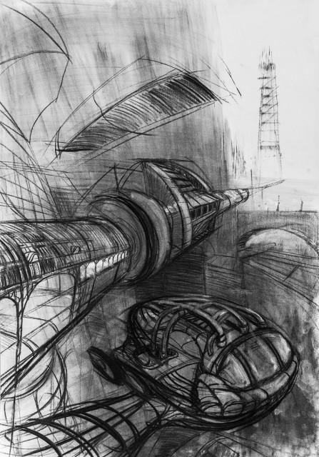 Trnka Pavel - Město 1, uhel na papíře, 100 x 70 cm, 2016s