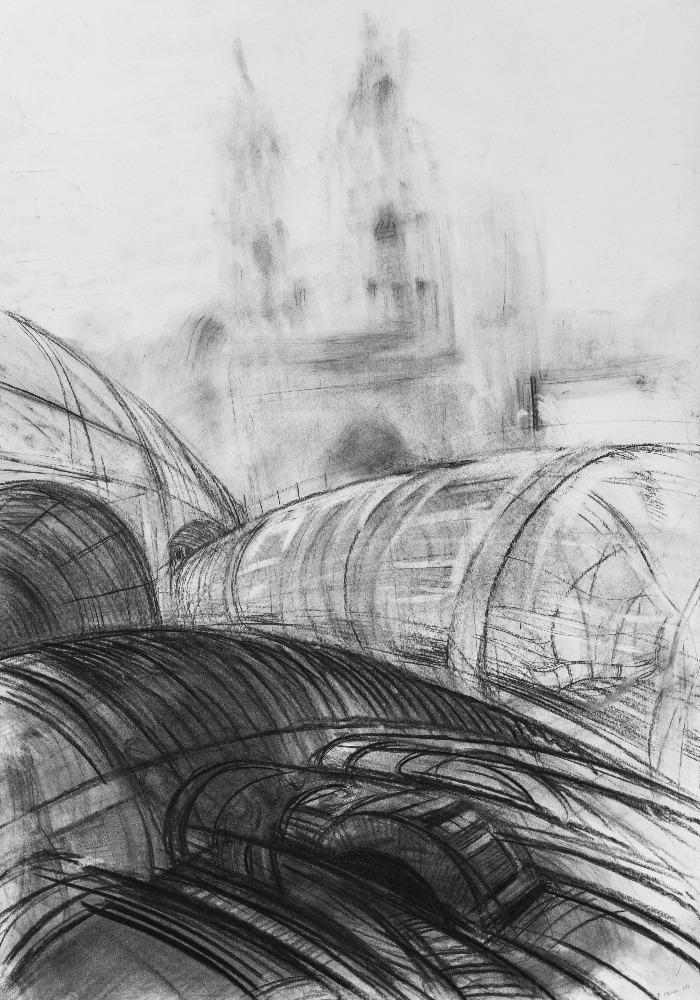 Trnka Pavel - Město 2 - uhel na papíře, 100 x 70 cm, 2016