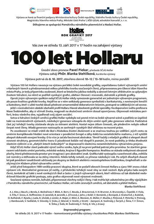 POZVÁNKA HOLLAR 100 LET As