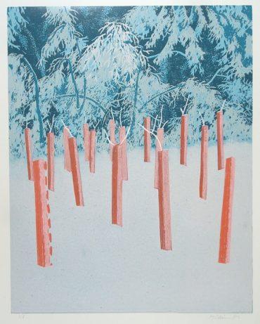 Miloš Sláma / Mladé stromky v zimě; linoryt; 38x48cm; 2013; 4500,-kč
