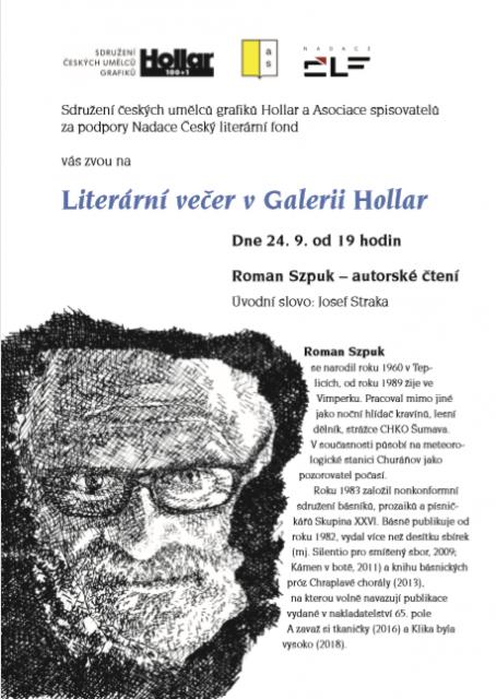 Literární večer v Galerii Hollar - Roman Szpuk 24. 9. 2019