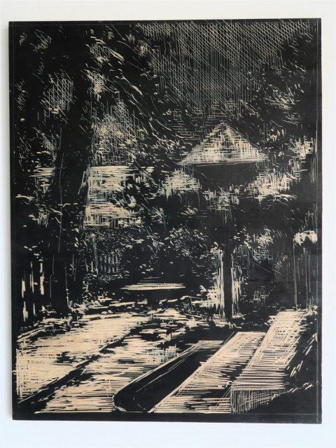 Holubník, 2016, rytá deska, březové dřevo, tuš,  61 x 51 cm