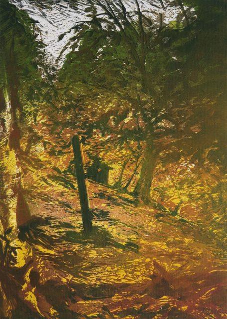 Klenová, 2018,  barevný linoryt na plátně, 62 x 45 cm