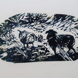 Ovce, linoryt, papír, 21 x 29 cm