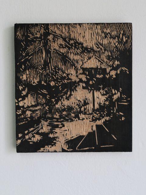 Zimní, 2016, rytá deska, olové dřevo, tuš, 22 x 34 cm