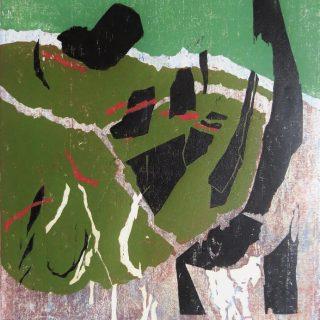 Z cyklu Moře, barevný dřevořez, 1980