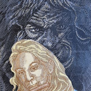 Olga V. - hra ve stínu fauna, bar.linoryt, 56x42