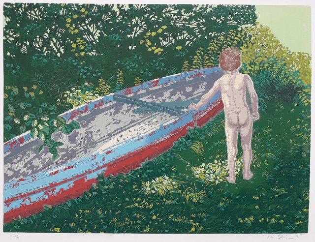 chlapec a stará kanoe s