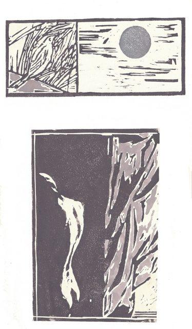 Andrea L. Ballardini, Rozpravy k měsíci, 2020, linoryt, akvarel /500x350 mm