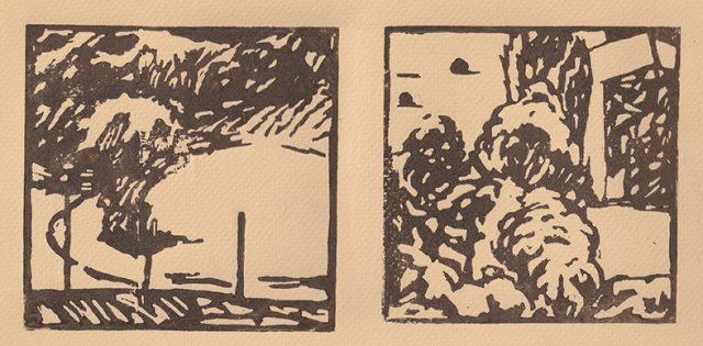 Andrea L. Ballardini, Italské zlomky, linoryt,  2020 / 120x120 mm
