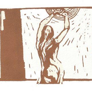 Andrea L. Ballardini, V záři slunce, 2020, linoryt, akvarel / 125x400 mm