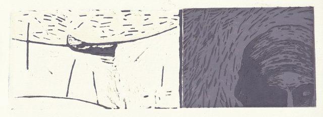 Andrea L. Ballardini, Loďka a Čas, 2020, linoryt, akvarel / 310x105 mm
