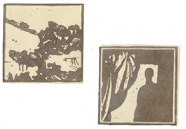 Andrea L. Ballardini, Vzdálenosti, 2020, barevný linoryt /120x120 mm