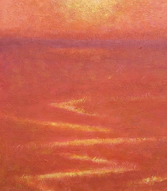 Andrea L. Ballardini, Na moři barvy vína, 2020, olej na desce /150x130 mm