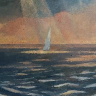Andrea L. Ballardini, Ne vždy se z mraků valí deště, 2020, olej na desce /220x180 mm