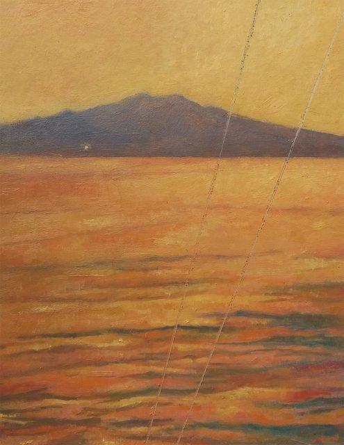 Andrea L. Ballardini, Periplus (břehy pod Etnou), 2020, olej na desce /220x180 mm