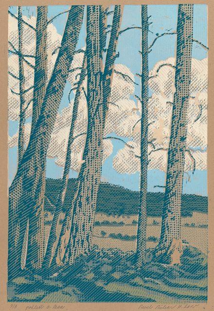 Pavel Piekar, Pohled z lesa, linoryt, 2015 / 400 x 405 mm