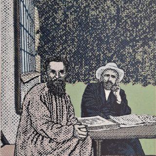 Pavel Piekar - František Bílek a Otokar Březina, barevný linoryt, 1999