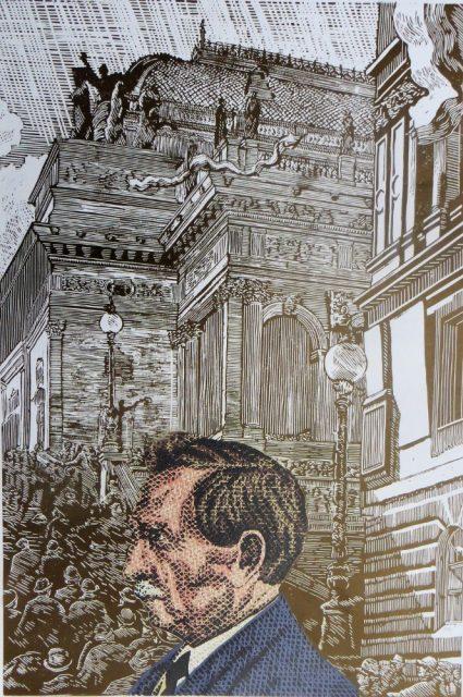 Pavel Piekar - Arno Nauman před Národním divadlem (1918), barevný linoryt