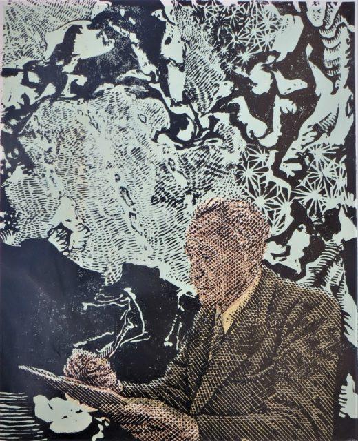 Pavel Piekar - Frantiek Kupka, barevný linoryt, 2020