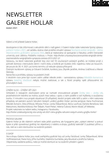 NEWSLETTER GALERIE HOLLAR duben 2021 (1)