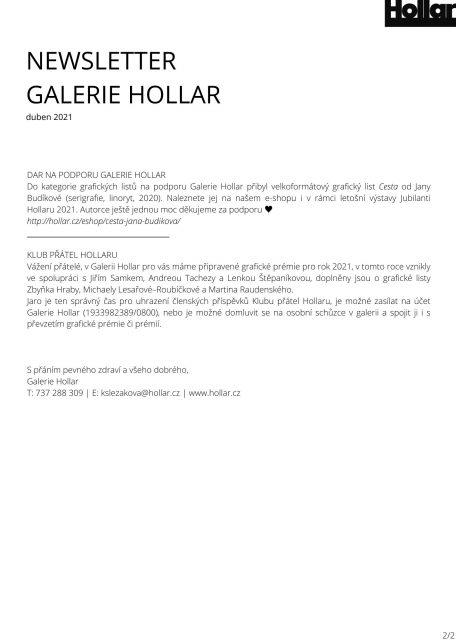 NEWSLETTER GALERIE HOLLAR duben 2021 (2)