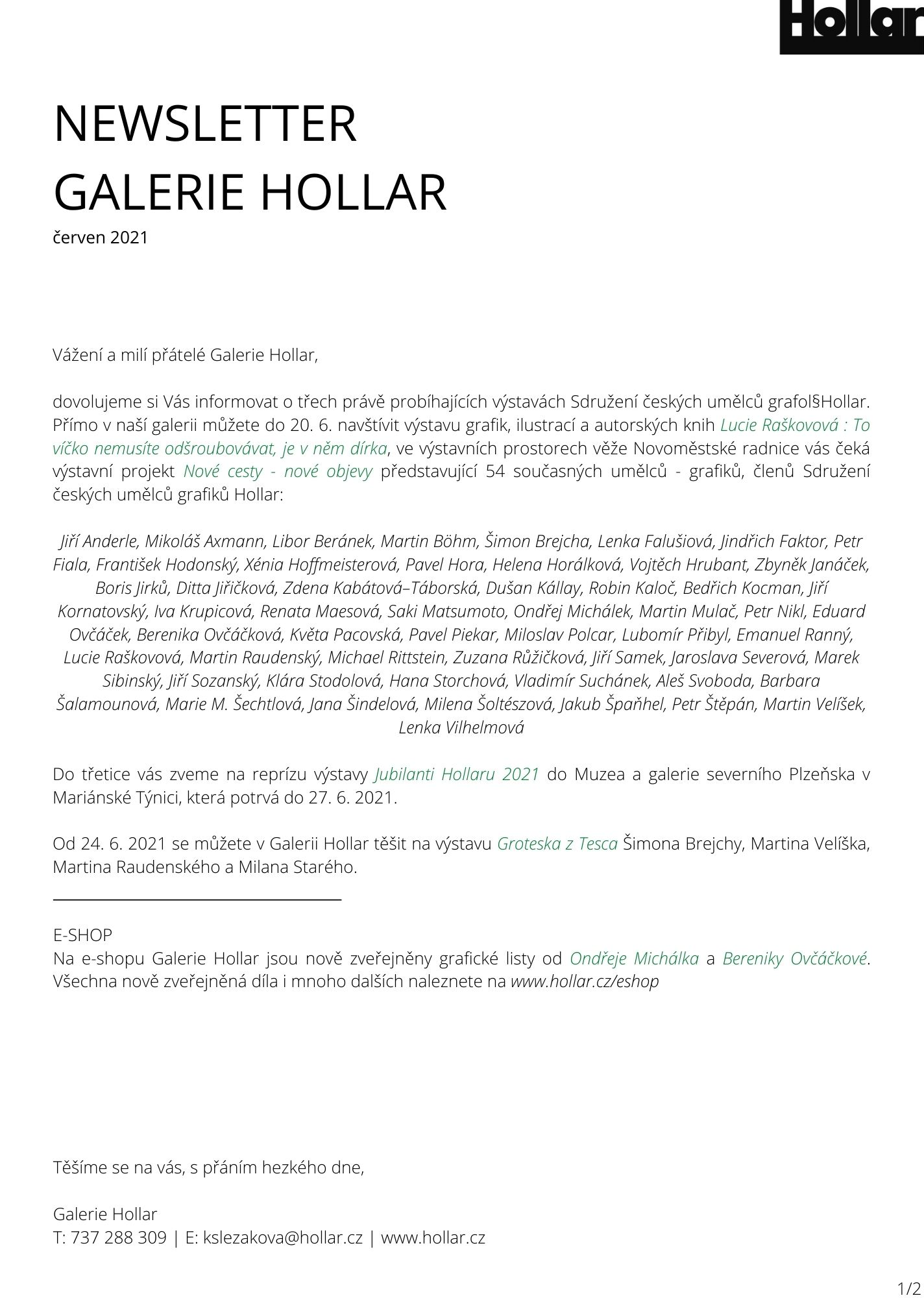 NEWSLETTER GALERIE HOLLAR červen 2021