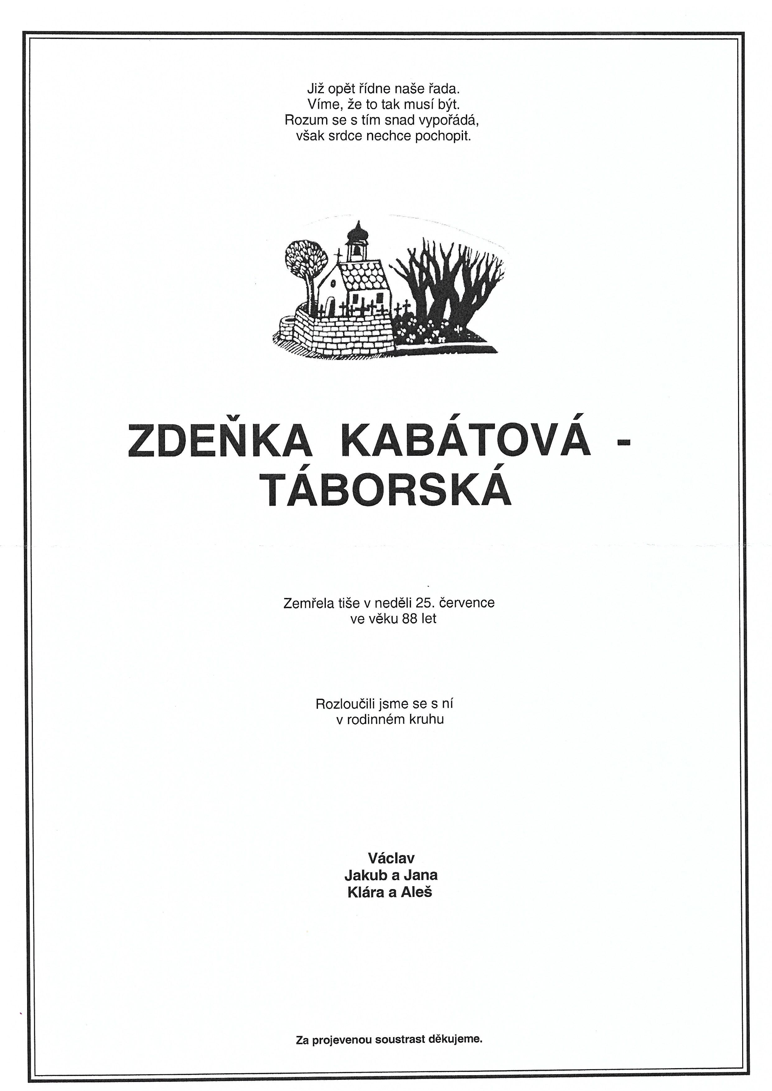 Zdena Kabátová Táborská parte